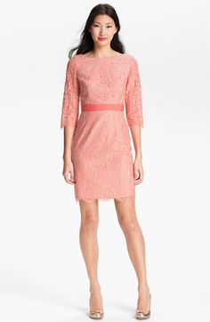 Eliza J Boatneck Lace Sheath Dress available at Nordstrom Just got this in Nashville yesterday!  So cute and perfectly matched a nail polish I got at Sephora :)