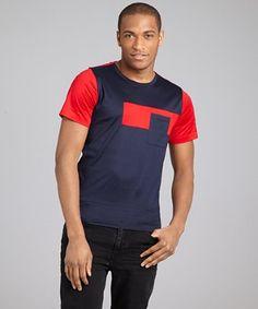 Balenciaga : navy, red and grey colorblock crewneck t-shirt