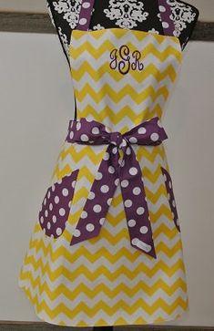 Personalized Yellow Chevron with Purple Polka Dot Trim Retro Adult Apron