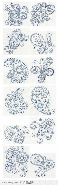 Paisley Blues Redwork machine embroidery designs by Designs by JuJu: Embroidery Stitches, Embroidery Patterns, Hand Embroidery, Machine Embroidery, Paisley Embroidery, Piping Patterns, Doodles Zentangles, Zentangle Patterns, Paisley Pattern