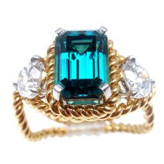 OK, I will stop it now - because this is just totally awesome!!!!!  TIFFANY & CO JEAN SCHLUMBERGER Diamond Blue Tourmaline Ring