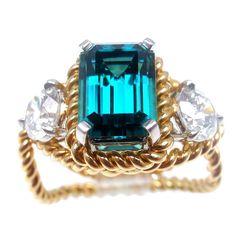 TIFFANY & CO JEAN SCHLUMBERGER Diamond Blue Tourmaline Ring