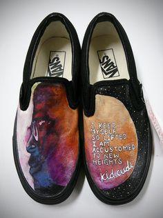 Hand Painted Kid Cudi Custom Vans Shoes by stabbyvonkillerstein one of my favs so far Custom Vans Shoes, Buy Shoes, Me Too Shoes, Painted Vans, Painted Shoes, Hand Painted, Kid Cudi, Vans Off The Wall, Sporty Girls