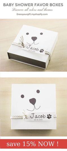 Set of 10 baby shower favor box with tag and linen ribbon, bautizo recuerdos, boite a dragees bapteme, geburt gastgeschenk #babyshowergifts #bautizo