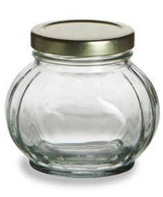Faceted Glass Jar 8 oz (225ml) w/ Gold Lid $0.98. I think these are the jars I'd like to use for Christmas gift giving. I'm thinking: Lemon Curd with a blue and white checked ribbon around the neck.