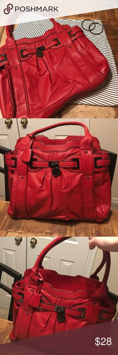 Red Satchel with Gunmetal Hardware NWOT. This would be a great transitional piece for fall! 🍁🍂 Must have with the gunmetal hardware!! Bought this in Brighton, England. Had to have it and then didn't end up using it. Zip top closure, straps and lining in perfect condition. I did notice that there is a small scratch/mark in the material on the right side as noted in last two pictures zoomed in and out. Really not noticeable. This is a great lightweight back you can get all your stuff in…