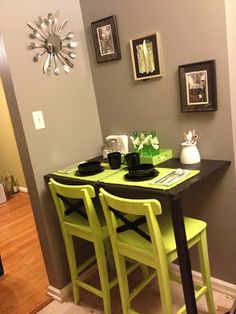 SHORTEN INTO DESK - Madcap Frenzy: graphic design, diy, papercrafts and everything in-between: DIY breakfast nook and Ikea stool lime green update