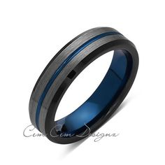 6mm,Brushed Gun Metal,Gray and Black,Blue Tungsten Ring,Mens Wedding Band,Comfort Fit - LUXURY BANDS LA