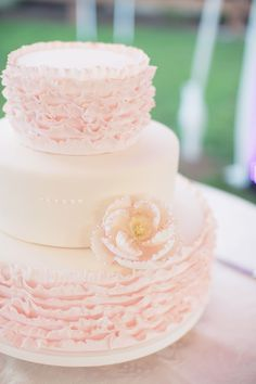 Ruffled Wedding Cake | See the wedding on SMP: http://www.StyleMePretty.com/california-weddings/2014/02/10/rustic-elegant-caballo-estate-wedding/ This Love of Yours Photography