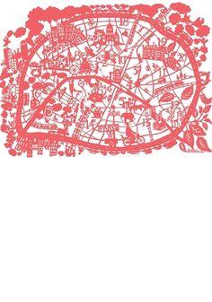 City map print - Paris, Pink