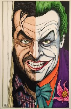 HEEEEEERE'S JOHNNY! My tribute to two of the great Jack Nicholson's most popular movie roles, Jack Torrance from The Shining, and The Joker from Batman. Nobody played crazy quite like Jack. Ever dance with the devil by the pale moonlight? Le Joker Batman, Joker Art, Batman Art, Joker And Harley Quinn, Batman Comics, Gotham Batman, Jack Nicholson, Joker Nicholson, Comic Books Art