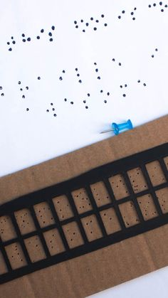 Make a simple braille slate and stylus- inspired by Six Dots: A Story of Young Louis Braille) Check out all the 28 Days of STEAM Projects for Kids for fun science, technology, engineering, art, and math activities! Creative Activities For Kids, Stem Activities, Projects For Kids, Learning Activities, Stem Projects, Reading Braille, Braille Alphabet, Cute Kids Crafts, Stem Classes