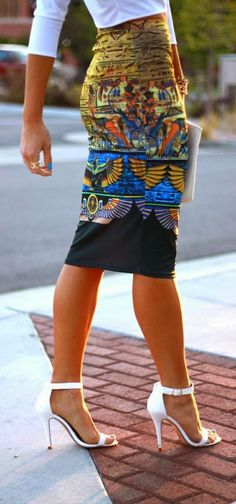 Black Base Printed Skirt