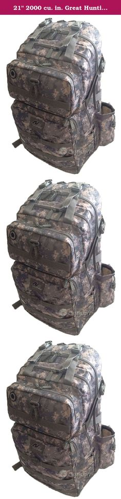 """21"""" 2000 cu. in. Great Hunting Camping Hiking Backpack DP321 DM DIGITAL CAMOUFLAGE. PRODUCT DETAILS Capacity: 2000 cu. in. Dimensions & weight: 21""""(Height) x 12""""(Width) x 7""""(Depth) 2 lbs 5 oz empty (Approximated weight) Compartments & Pockets: 2 built compartments 2 front pockets with heavy-duty webbing lines 1 side pocket, 1 mesh pocket, 1 water bottle holder, and 2 choke holders Materials: Polyester with PVC water resistant lining #10 Heavy-duty zipper Accessories & additional features:..."""