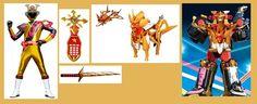The Gold Shogun Star Ranger (KinShogun) with his Shogun Star Morpher, Striker Sword, Unicorn ShogunZord (in animal and vehicle modes) and its Megazord combination Power Rangers Cosplay, Power Rangers Megaforce, Power Rangers Ninja Steel, Ice Dragon, Hero Time, Shoulder Armor, Kamen Rider, Geek Culture, Character Inspiration