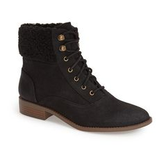 """BC Footwear 'Hood' Bootie, 1 1/4"""" heel ($55) ❤ liked on Polyvore featuring shoes, boots, ankle booties, ankle boots, black fabric, lace up bootie, short black boots, low heel ankle boots, low heel booties and lace up booties"""