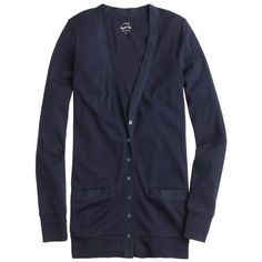 J.Crew Perfect-Fit Mixed-Tape Cardigan Sweater ($65) ❤ liked on Polyvore featuring tops, cardigans, navy, long sleeve tops, slimming tops, navy blue cardigan, navy blue long sleeve top and j.crew