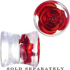 0 Gauge Clear Acrylic Floating Red Metallic Rose Plug #bodycandy #plugs $5.99