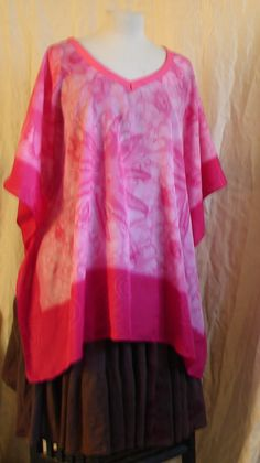 Plus size top Fool the Eye Top Tie dye Pink Top Silk Top Resort Wear womens plus size cotton top plus size boho top Festival hippie bohemian by WindyMountainDesigns on Etsy