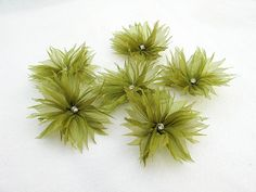 6 pcs Flowers with   Spring Green Organza Ribbon by nezoshop, $8.50