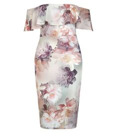 """Bold florals are perfect for your spring occasion wardrobe - complement with nude ankle strap heels and a red lip to finish.- All over floral print- Frill trim- Cinched waist- Bodycon for a closely cut fit- Midi length- Model is 5'8""""/176cm and wears UK 10/EU 38/US 6"""
