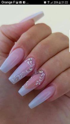 french nails square Nailart - New Ideas Classy Nails, Stylish Nails, Cute Nails, Pretty Nails, Cute Nail Designs, Acrylic Nail Designs, Beautiful Nail Designs, Pink Acrylic Nails, Pink Nails