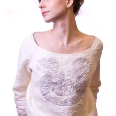 Felted sweater with funny applique   made to order by jezek, $212.00
