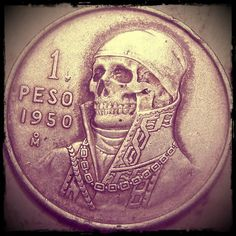 """""""A peso for your thoughts"""" via Obsessed with Skulls on Tumblr.  A type of """"hobo nickel,"""" a sculptural art form that involves the modification of coins, essentially resulting in miniature bas reliefs. Coin engravers started creating hobo nickels in 1913, when the Buffalo nickel entered circulation.  More classic old hobo nickels were made from 1913-dated nickels than any other pre-1930s date.  Many artists made hobo nickels in the 1910s and 1920s, with new artists joining in as the years went…"""