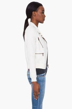 DIESEL Cream Felix Leather Jacket