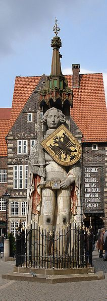 Roland statue in the town center of Bremen, Germany