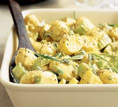 Potato salad with curried mayo  http://www.bbcgoodfood.com/recipes/1385/potato-salad-with-curried-mayo#