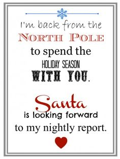 Elf Returns from the North Pole Letter.  Perfect for an elf grand entrance!