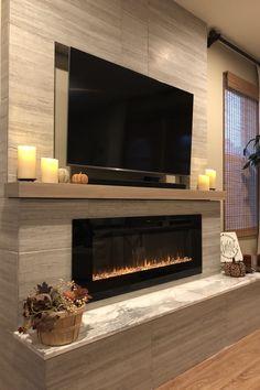 Interior Design: 35 Ideas How To Get A Modern Home inspirierendes modernes Wohnzimmer, flacher Kamin, Design-Idee Linear Fireplace, Fireplace Tv Wall, Fireplace Remodel, Fireplace Design, Fireplace Ideas, Basement Fireplace, Mantel Ideas, Bedroom Fireplace, Farmhouse Fireplace