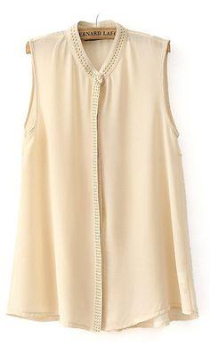Sleeveless beaded chiffon blouse Beige
