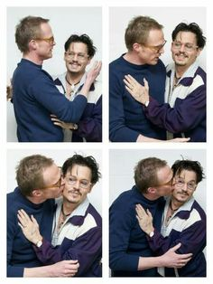 Paul Bettany kissing and hugging Johnny Depp at the Transcendence Press in 2014 Actors Funny, Hot Actors, Actors & Actresses, Johnny Depp Pictures, Paul Bettany, Johny Depp, Marvel Actors, Pirates Of The Caribbean, Robert Downey Jr