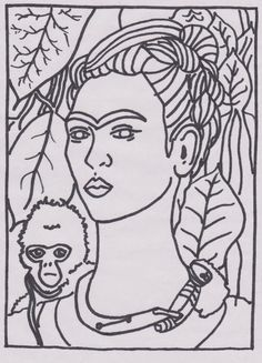 Famous Art Printable, Frida Kahlo - Self-portrait with monkey, coloring, art coloring