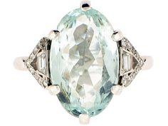 Art Deco Aquamarine and Diamond Ring in Platinum, Circa 1930 - Gatsby glamour