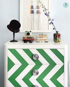 chevron painted dresser-- green and white looks great!