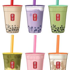 Bubble Tea Menu, Bubble Milk Tea, Doodle Art Letters, Tea Illustration, Cute Food Drawings, Cookie Run, Cute Frogs, Matcha Green Tea, Food Illustrations
