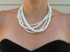 Chunky Bridal Necklace Pearl Multistrand Statement Necklace, Jackie. $39.00, via Etsy.