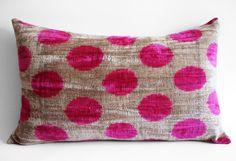 Handmade Silk Velvet Ikat Pillow Cover - 14x22 inch