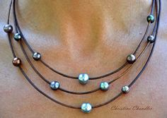 Leather and Pearl Jewelry Necklace Brown by ChristineChandler, $139.00