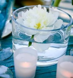 simple bistro table flowers