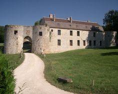 """Château de Vallery 89150 Vallery. Ce château qui a beaucoup souffert est représenté à son apogée sur 6 gravures dans """"Les plus excellents bastiments de France"""" d'Androuet du Cerceau"""