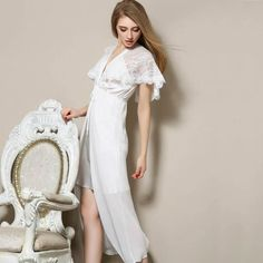 23238efc8f White Nightgown Long Nightgown Plus Size Romantic Nightgowns Spring Sexy  Luxury Silk Deep V Chemise De