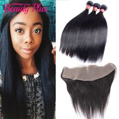 Peruaanse Rechte Kant Frontale Sluiting Met Bundels Beauty Plus 7A Oor Tot Oor Frontale Vetersluiting Peruaanse Virgin Hair Straight