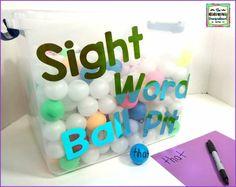 Sight Word Practice: Sight Word Ball Pit – The Kindergarten Smorgasboard Teaching Sight Words, Sight Word Practice, Sight Word Activities, Literacy Activities, Literacy Centers, Sight Word Spelling, Morning Activities, Sight Word Worksheets, Spelling Practice
