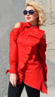 Just in: Extravagant Red Blouse, Red Cotton Top, Asymmetrical Red Top with Flounces and Cropped Shoulders TT125 by TEYXO https://www.etsy.com/listing/556089499/extravagant-red-blouse-red-cotton-top?utm_campaign=crowdfire&utm_content=crowdfire&utm_medium=social&utm_source=pinterest