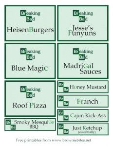 Breaking Bad food labels we will need to use for the catering Breaking Bad Birthday, Breaking Bad Party, New Year Breaks, Party Food Labels, Brownie Bites, Bad Food, Birthday Party Themes, Birthday Bash, Favorite Holiday