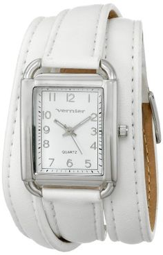 Vernier Womens VNR11153WT Vernier Watch with White Leather Band * Click image to review more details.Note:It is affiliate link to Amazon.